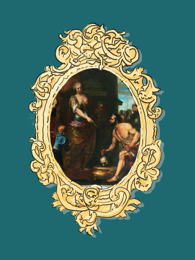 MHK_Illustration Felix Kramer, Gemäldeausschnitt_Antonio Molinari_Tomyris lässt das Haupt des Kyros in Menschenblut tauchen_um 1692_Arno Hensmanns_GAM20742.jpg