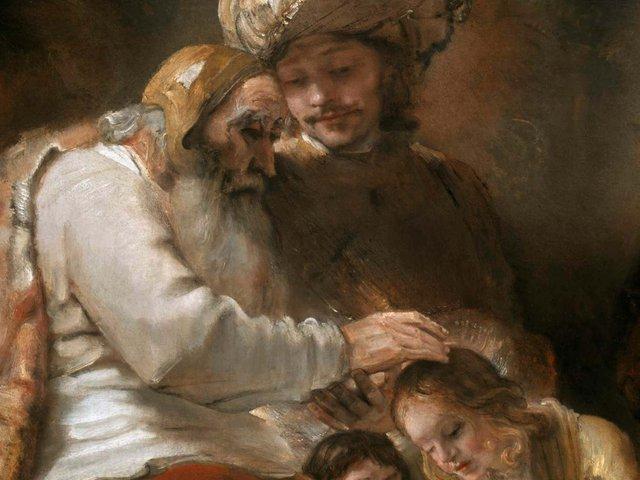 Rembrandt v. Rijn_Jaakob segnet Ephraim und Manasse